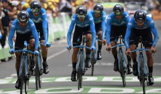 El Movistar Tem, tras la crono por equipos en el Tour de Francia 2019