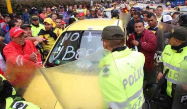 Paro de taxistas en Bogotá.