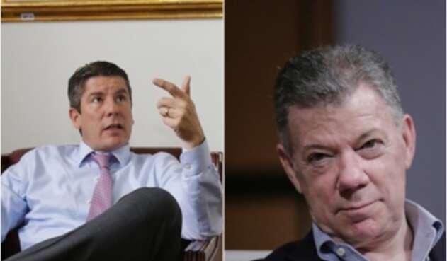 Ricardo Ferro, congresista uribista. Y a su lado, el expresidente Juan Manuel Santos