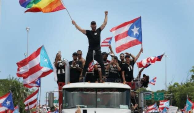 Ricky Martin en protestas en Puerto Rico