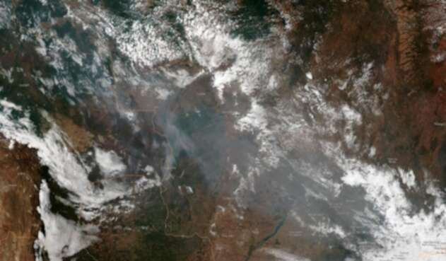 Vista espacial de la zona de los incendios en el Amazonas