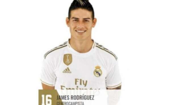 James Rodríguez sería el número 16 del Madrid para la temporada 19-20