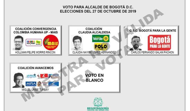 Tarjetón para elecciones de Alcaldía de Bogotá 2019