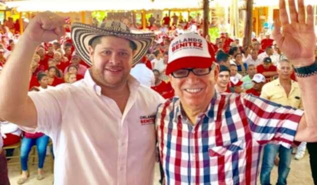El expresidente César Gaviria junto a Orlando Benítez.