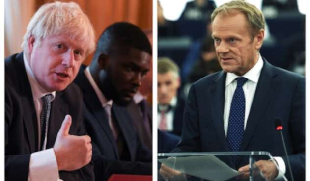 El primer ministro británico, Boris Johnson se enfrentó con el presidente del Consejo europeo, Donald Tusk.