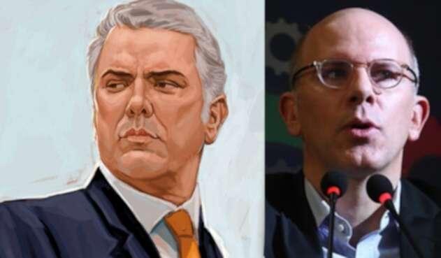 El presidente Iván Duque y Alejandro Santos, director de la revista Semana