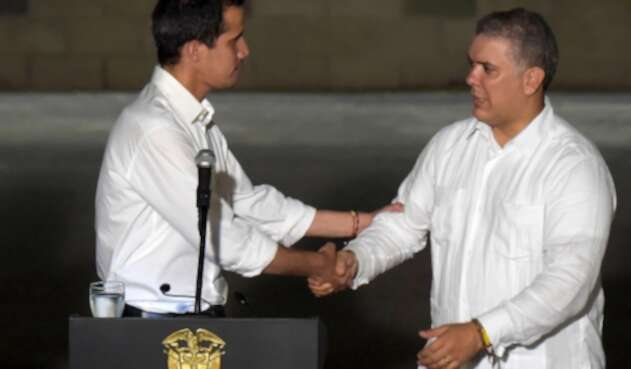 Juan Guaidó e Iván Duque, el 22 de febrero de 2019 en Cúcuta