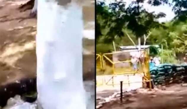 Dos imágenes que se conocen del incidente en La Lizama, departamento de Santander