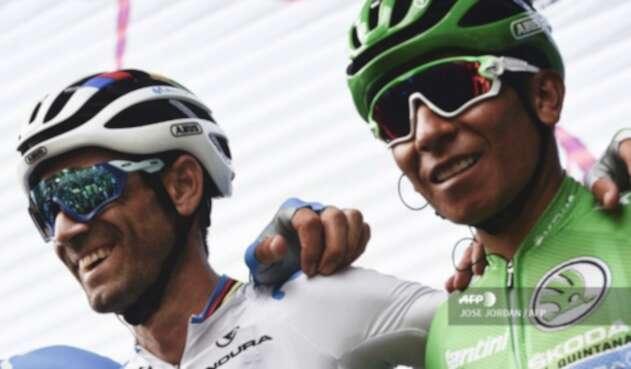 Alejandro Valverde y Nairo Quintana en la Vuelta a España 2019.