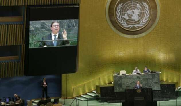 Bruno Rodríguez, canciller cubano, ante la ONU.