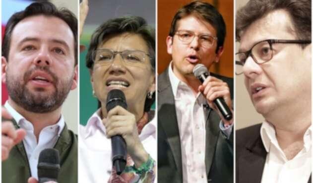 Carlos Fernando Galán, Claudia López, Miguel Uribe Turbay y Hollman Morris, candidatos a la Alcaldía de Bogotá