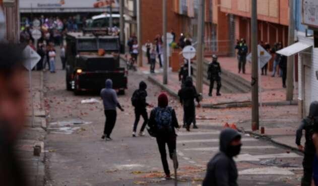 La alteración de orden público en inmediaciones de la Universidad Javeriana, en Bogotá