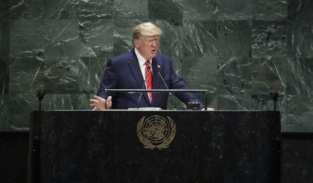 Donald Trump, presidente de Estados Unidos, en la Asamblea General de la ONU, en Nueva York (Estados Unidos)