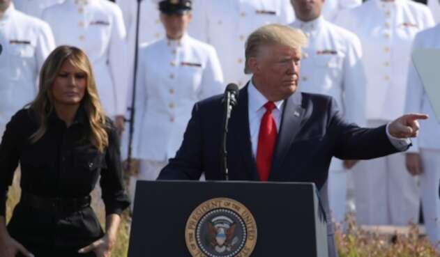 Melania Trump, primera dama de Estados Unidos, y Donald Trump, presidente de ese país, durante la conmemoración del 11-S en Nueva York