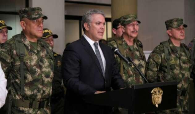 El presidente Iván Duque anunciando en Popayán que alias Alonso fue abatido