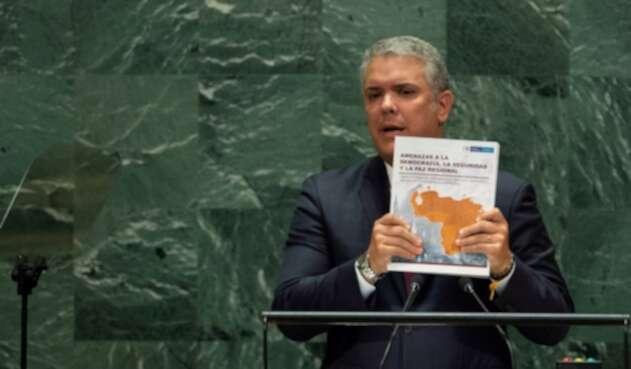 Presidente Iván Duque presentado el 'dossier' con las pruebas contra Maduro, en la ONU.