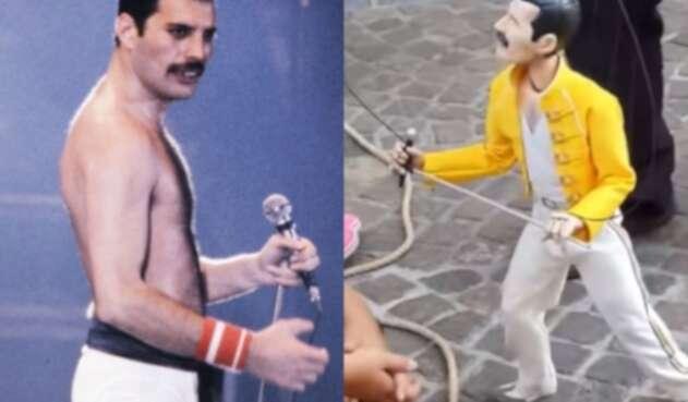 La marioneta de Freddie Mercury emocionó en la presentación callejera.