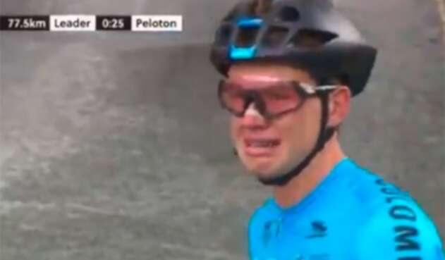 Germán Gómez, ciclista colombiano, en plena prueba de ruta Junior del Mundial de Yorkshire, en Reino Unido