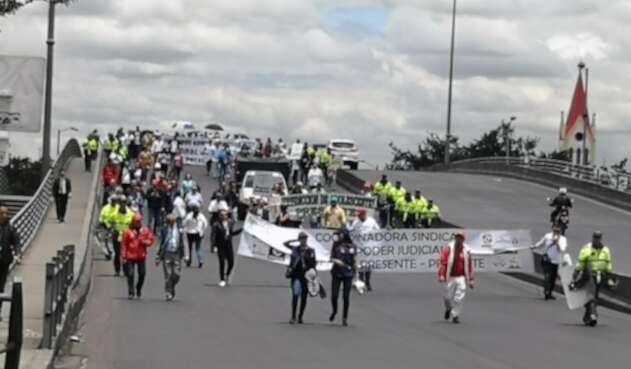 Así protestan los trabajadores del sector judicial en Colombia