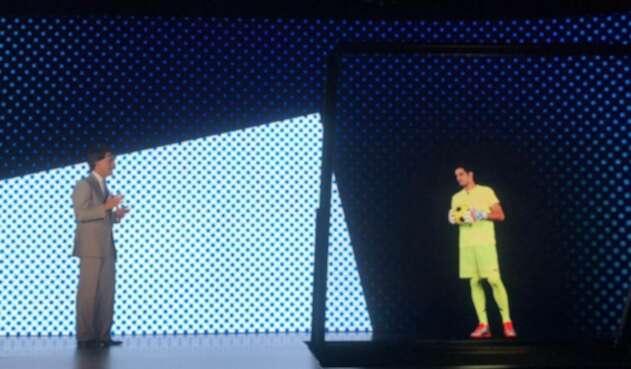 Mauricio Ramos y Jaime Penedo durante la llamada holográfica en Panamá