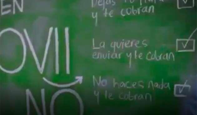 Imagen del comercial de Movii que no fue visto en TV