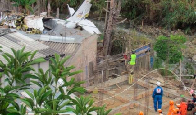 La avioneta que cayó en Popayán, causando la muerte de siete personas