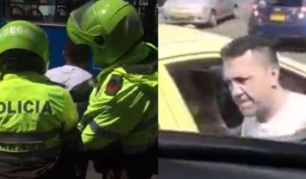 Taxista golpea conn un palo bus del SITP