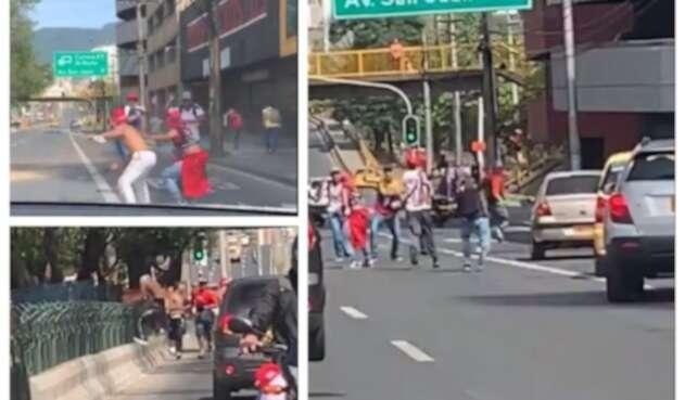 Enfrentamiento hinchas en Medellín