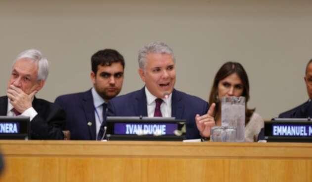 Presidente Iván Duque en la cumbre de Bosques en Nueva York