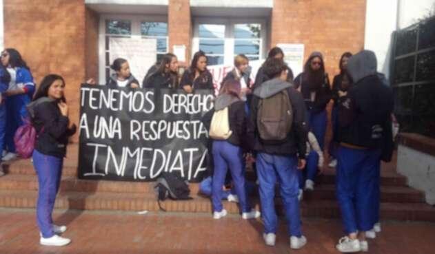 Estudiantes del colegio Palermo, en Bogotá