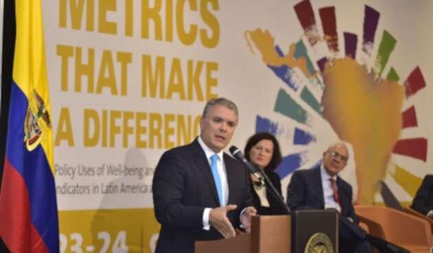 Presidente Iván Duque, en evento con la OCDE en Bogotá.