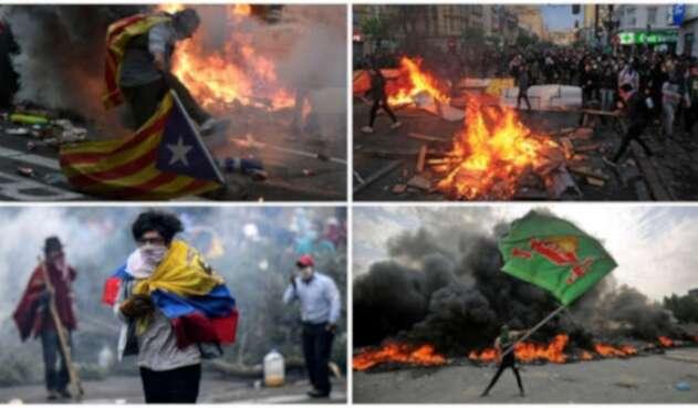 Distintas imágenes de protestas en Cataluña, Argelia, Hong Kong.