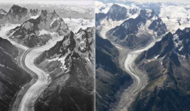 Fotografías muestran el retroceso de los glaciares del Mont Blanc en un siglo