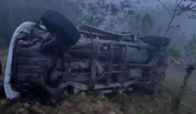 Imagen del accidente de los candidatos en Cauca.