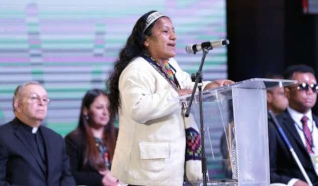 Aída Quilcué, consejera de Derechos Humanos de la Organización Nacional Indígena de Colombia (ONIC)