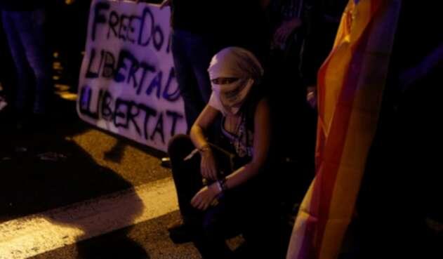 Una manifestante en Barcelona (España)