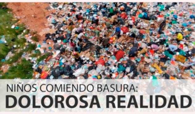 Imagen del informe de Noticias RCN sobre niños indígenas comiendo basura en Puerto Carreño (Vichada)