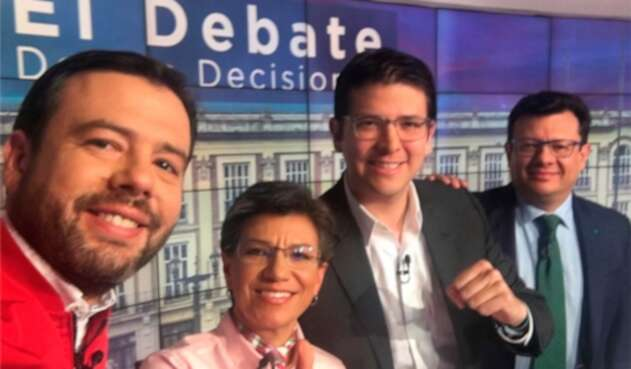 Carlos Fernando Galán, Claudia López, Miguel Uribe Turbay y Hollman Morris durante el debate adelantado en Noticias RCN, en Bogotá