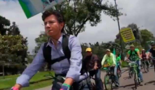Claudia López, candidata a la Alcaldía de Bogotá, en el marco de su campaña