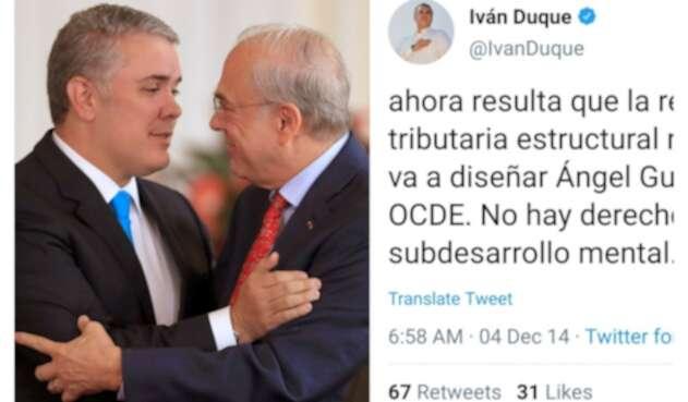 El presidente, Iván Duque, junto con Ángel Gurría, secretario general de la OCDE, en la Casa de Nariño, en Bogotá. A la derecha, el trino del exsenador y ahora jefe de Estado