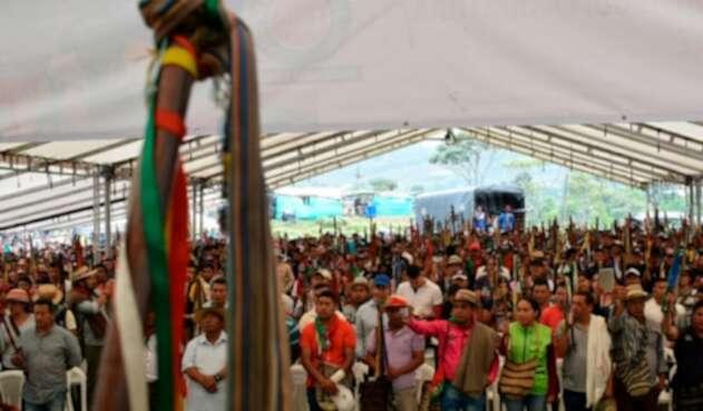 Indígenas reunidos en Cauca