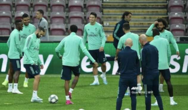 James Rodríguez en entrenamiento del Real Madrid