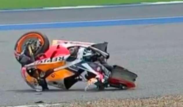 La moto Honda de Marc Márquez luego del accidente en Tailandia