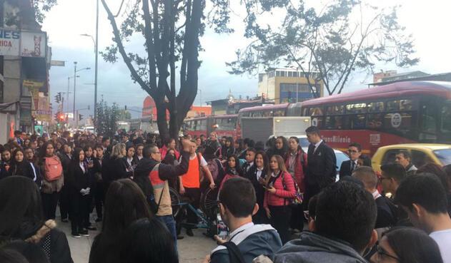 Marcha de estudiantes del SENA en Bogotá
