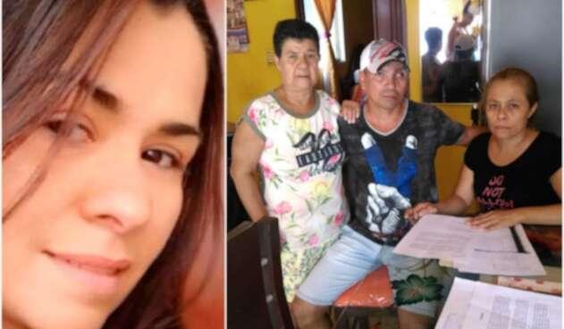 Mariana Díaz Ricaurte, colombiana fallecida en Chile. A la derecha Jhon Borja Ricaurte y demás integrantes de la familia, residentes en Tuluá