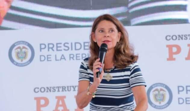 Marta Lucía Ramírez, vicepresidenta de la República, en Uribia (La Guajira), el 13 de octubre de 2018
