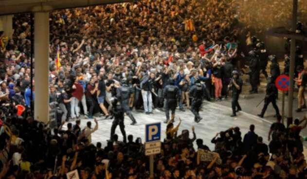 Protestas en el aeropuerto de Barcelona, 14 de octubre de 2019