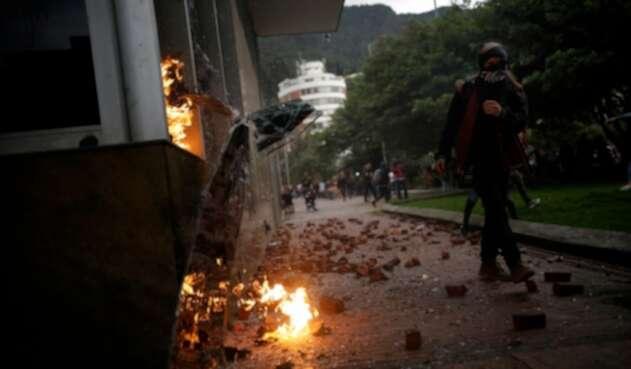 Las protestas estudiantiles en inmediaciones del Icetex, el 27 de septiembre de 2019