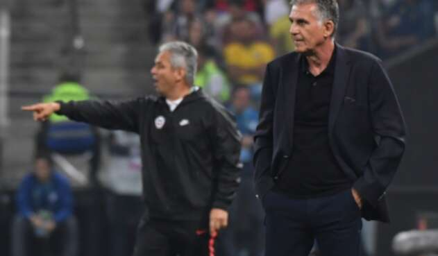 Reinaldo Rueda y Carlos Queiroz, entrenadores de Chile y Colombia, respectivamente, enfrentados en Sao Paulo (Brasil) el 28 de junio de 2019
