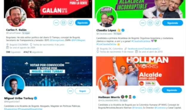 Las cuentas en Twitter de los candidatos a la Alcaldía de Bogotá